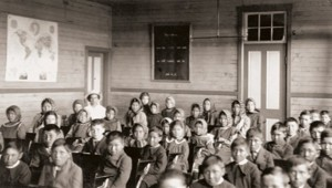 Archived photo of a residential school classroom. Photo credit: University of Manitoba.