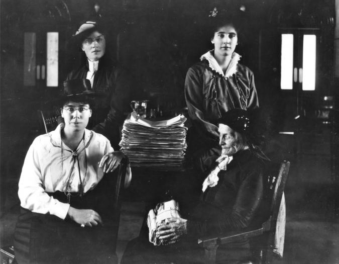 Amelia Burritt at bottom right, and then (clockwise) Dr. Mary Crawford, Winona Flett Dixon, and Lillian Beynon Thomas. Source: Manitoba Archive.
