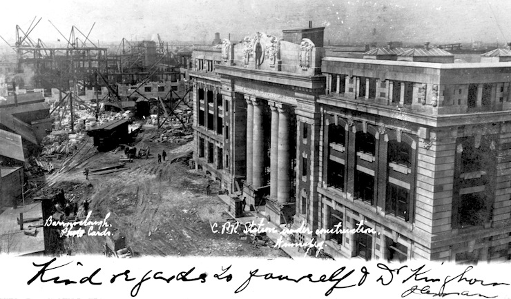 The Royal Alexandra under construction in 1906. The Canadian Pacific station is seen in the foreground